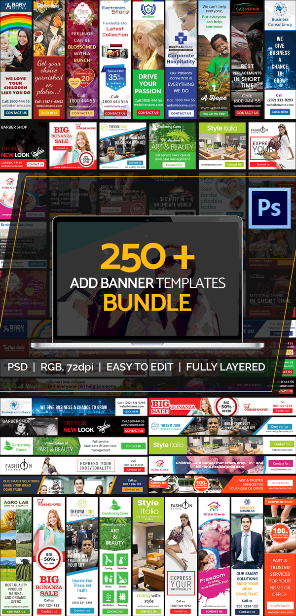 250 ad banner templates bundle