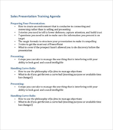 sales presentation agenda template