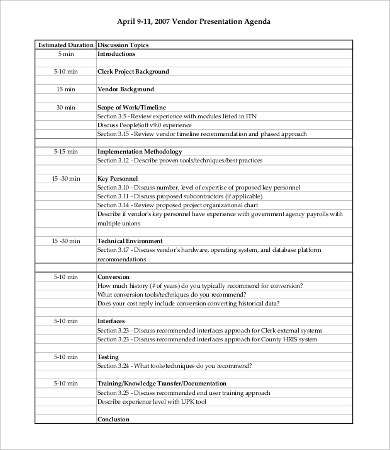 vendor presentation agenda template