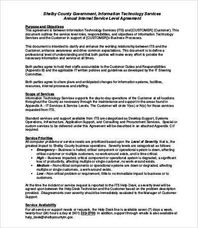 Service Level Agreement Template - 9+ Free Word, Pdf Documents