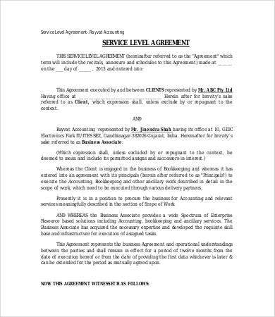 Service Level Agreement Template   Free Word  Documents