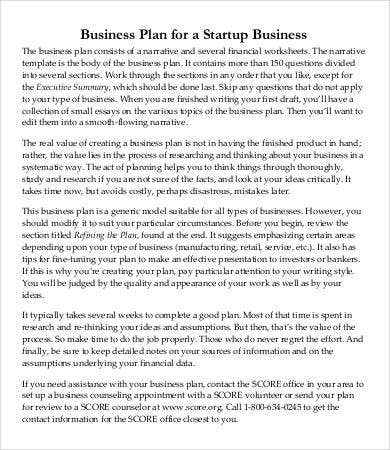 Small Business Startup Plan Template