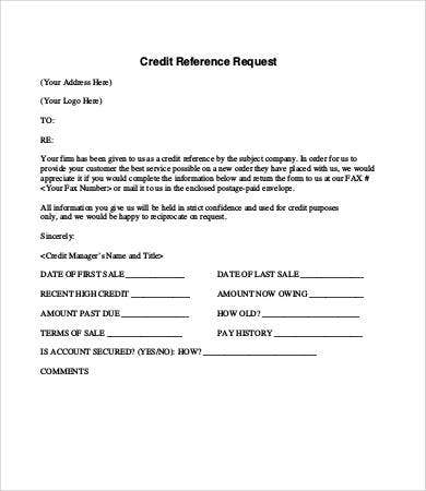 Credit Reference Letter   Free Word Pdf Documents Download