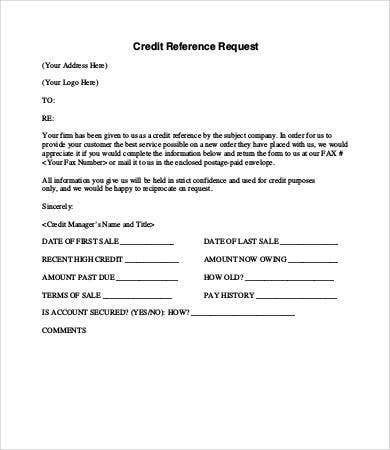 company credit reference letter