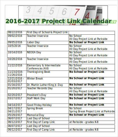Project Link Calendar