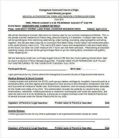 Permission Slip Templates   Free Word Pdf Documents Download