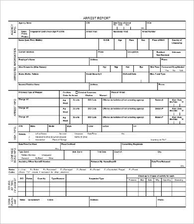 police arrest report template