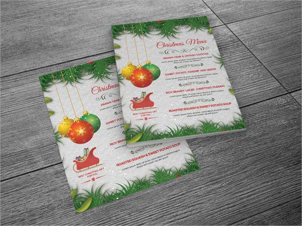 Printable Christmas Party Menu Template