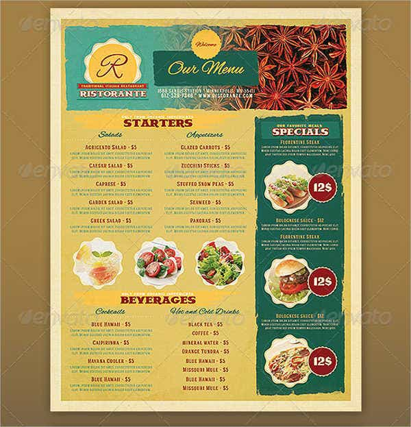 Printable Restaurant Menu Template