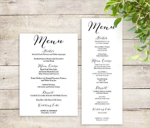 High Quality Printable Wedding Menu Template In Free Menu Templates Printable