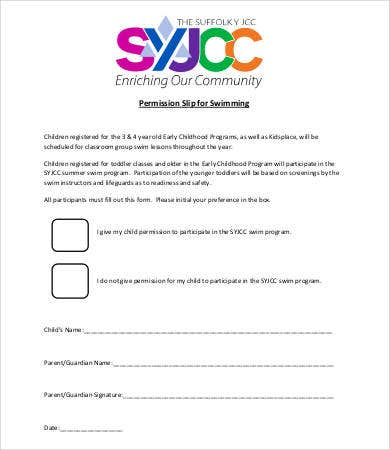 permission slip template for swimming