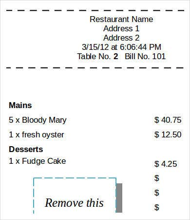 Printable Restaurant Sales Receipt