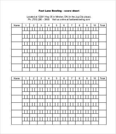 Bowling Score Sheet Templates   Free Word Pdf Excel Documents