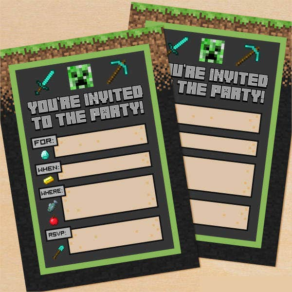 Minecraft Printable Party Invitation