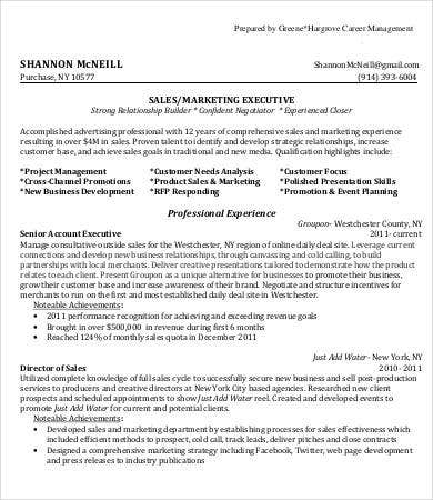 Sales Marketing Executive Resume