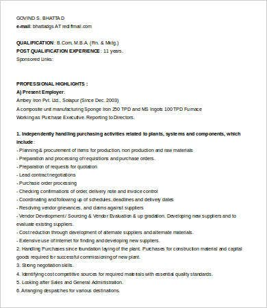 Purchase Executive Resume Sample