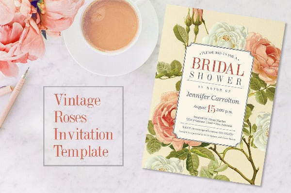 Vintage Roses Bridal Shower Invitation