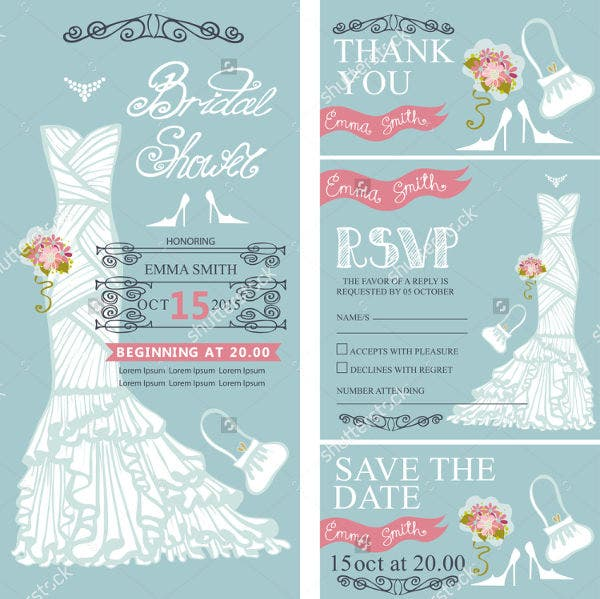Retro Bridal Shower Invitation Set