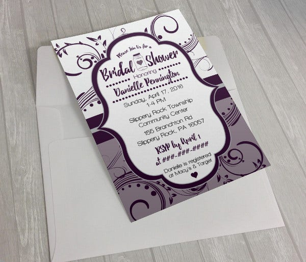 Blue Bridal Shower Invitation Design