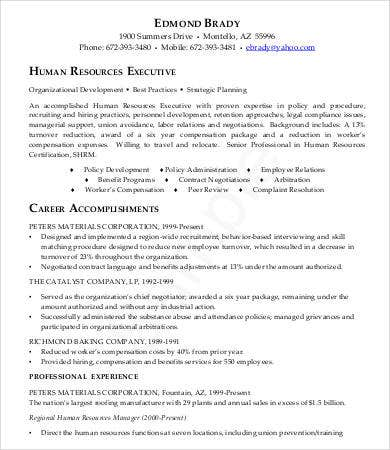 HR Executive Resume Sample  Executive Resumes Samples