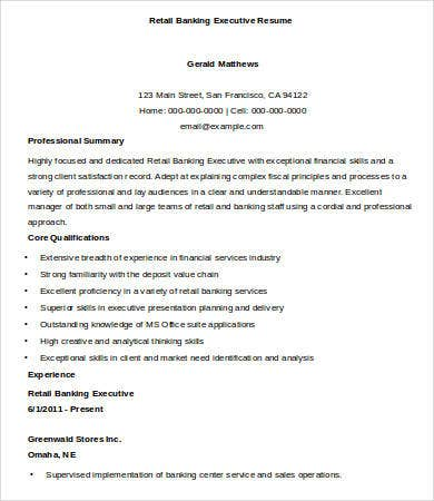 Retail Bank Executive Resume Sample
