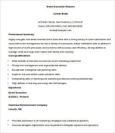 Event Executive Resume Template