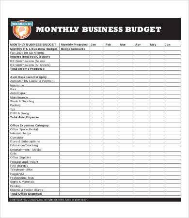 business monthly budget template1