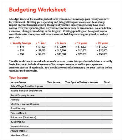 Home Budget Worksheet Template - 9+ Free Pdf Documents Download