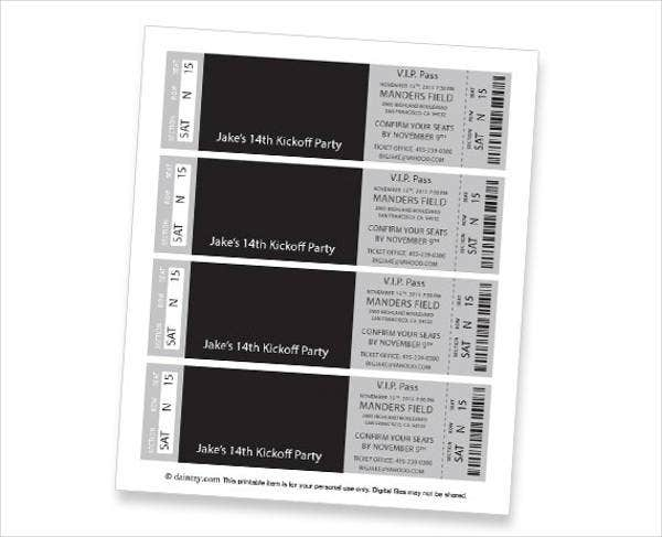 Printable Event Ticket Template