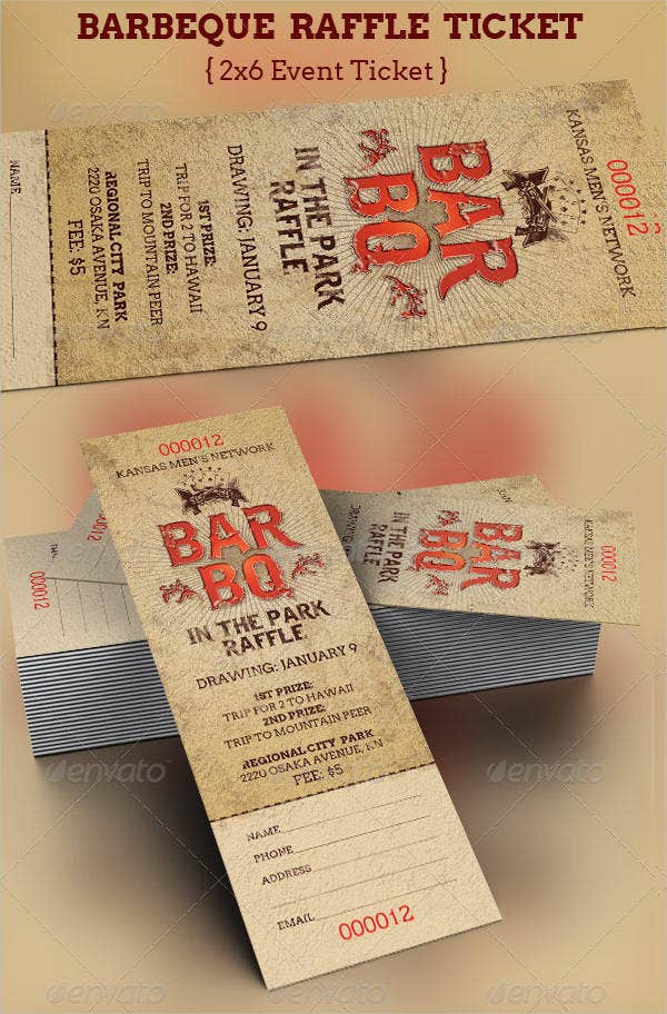 Printable ticket 14 free free psd vector eps png for Bbq ticket template free