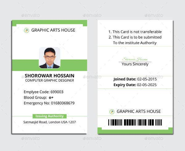 Free Id Card Template  Membership Id Card Template
