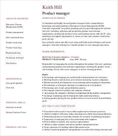 Example Of Product Manager Resume