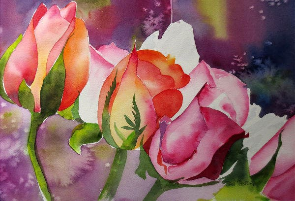 Painting of Colorful Roses