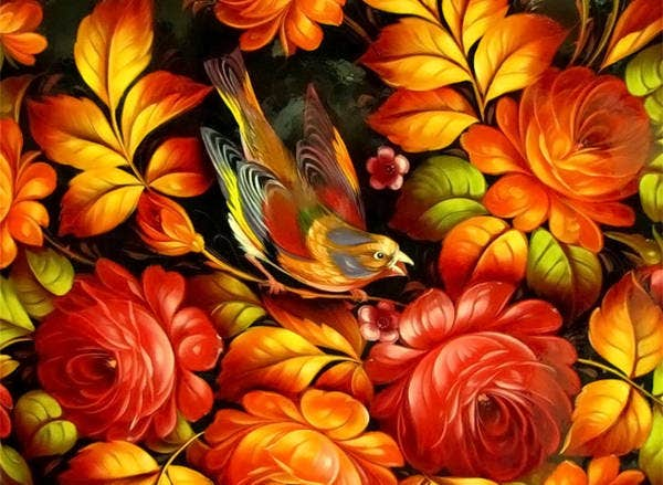 Floral Art with Abstract Bird