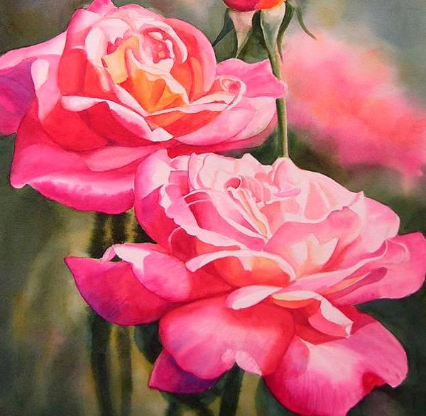 Blushing Roses With Bud