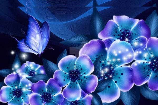 Blue Floral with Butterflies