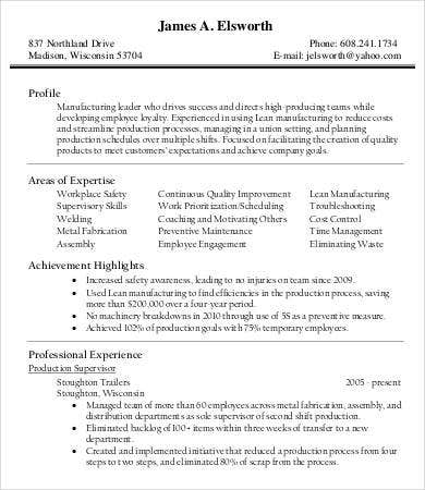 production manager resume format. Resume Example. Resume CV Cover Letter