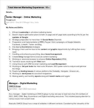 digital marketing manager resume - Marketing Resume Sample Doc