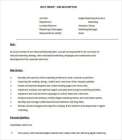 digital marketing executive resume