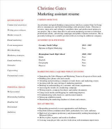 digital marketing assistant resume