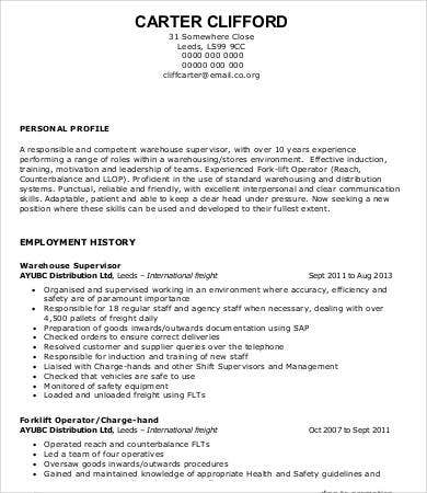 Warehouse Supervisor Sample Resume  Sample Resume And Free Resume
