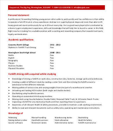 forklift driver warehouse worker resume