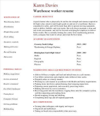 Temporary Warehouse Worker Resume