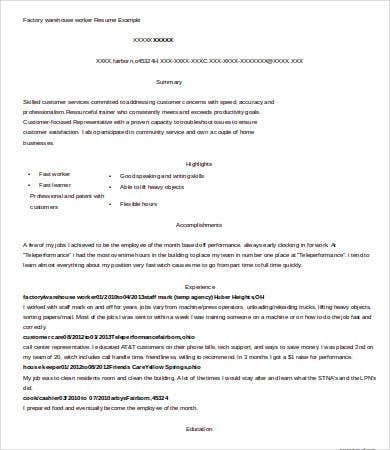 Factory Warehouse Worker Resume  Warehouse Worker Resume