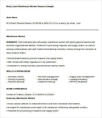 Warehouse Worker Resume   Free Sample Example Format  Free