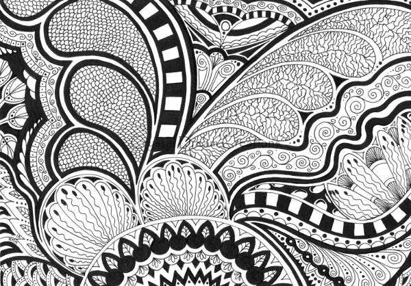 Black and White Abstract Drawing