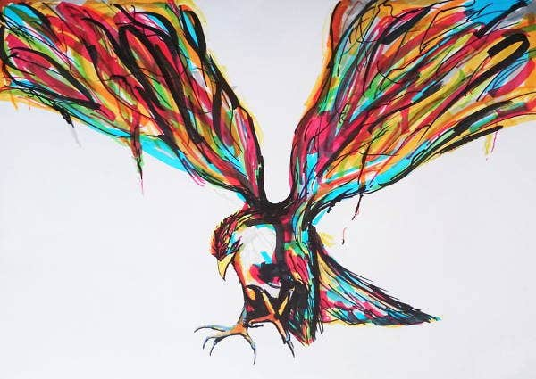Abstract Bird Drawing