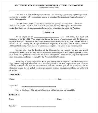 At Will Employment Agreement Template