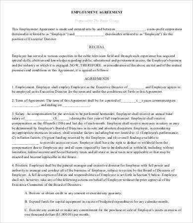 Non Profit Employment Agreement Template