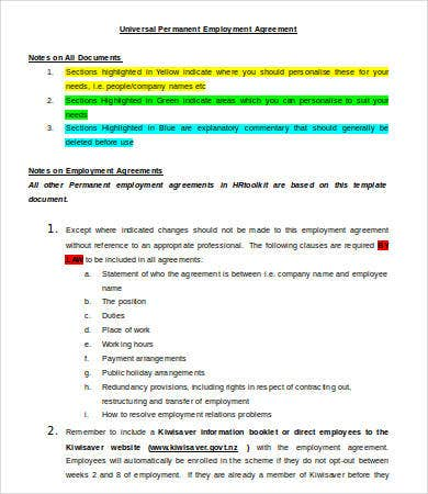 Employment agreement template 9 free sample example for Permanent contract of employment template